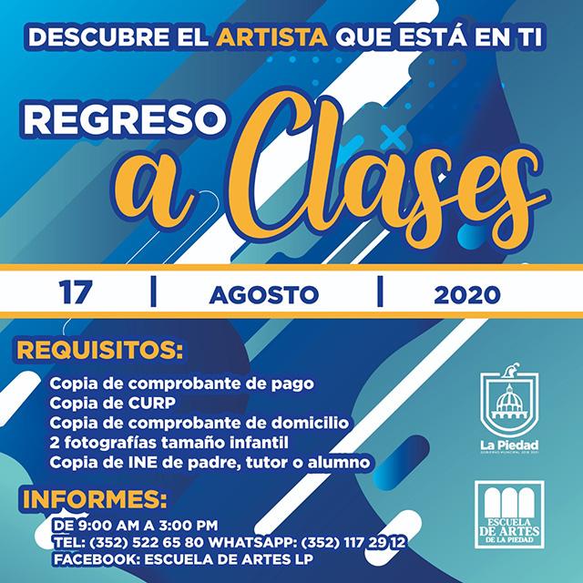 Talleres Escuela de Artes de La Piedad Agosto 2020